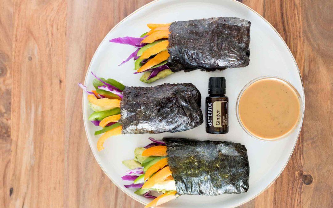 Veggie Seaweed Wraps with Peanut Ginger Sauce
